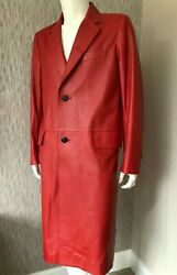Paul Smith Mainline Red Leather Coat Size Large Retail €3200 Made In Italy Bnwt