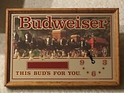 Vintage Budweiser Clydesdale This Budand039s For You Mirror Clock 19 X 13