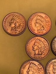 Private Listing= 10 Unc 1888-1909 Red Indian Head Penny Ms/bu Full Lib Gems