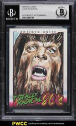 Totally Radical 80and039s Teen Wolf Michael J Fox Sketch Card By Luke Rushton 1/1 Bas