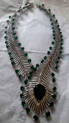 Cocktail Wedding Necklace 925 Sterling Silver Rose Cut Diamond Emerald Necklace