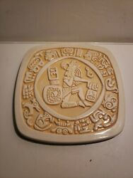 Vintage Hutchson Molds - Red Wing Mn - Yellow Aztec Design Plate/tray