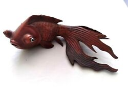 Vintage Chinese Rose Red Wood Hand Carved Fantail Koi Gold Fish Figurine 6