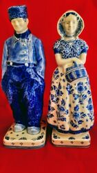 X-large Delft Blue Porcelain Figurines Dutch Man And Woman Signed And Numbered
