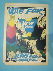 Collectible Jerry Rubin For Mayor Poster Berkeley Ca. 1967