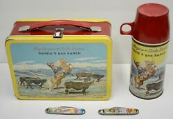 1950's Red Band Roy Rogers Dale Evans Double R Ranch Lunchbox +thermos Vintage
