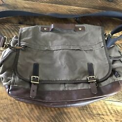 Fossil Oiled Canvas Brown Leather Crossbody Messenger Laptop Bag Briefcase $49.98