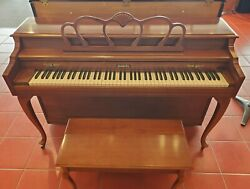 Baldwin Classic Spinet Piano Cherry Finish Model 536 W/ Bench Made In Usa