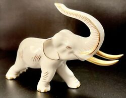 🦋 Mint Rare Herend 24k Gold Accents And White Charging Elephant Figurine