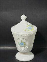 Vtg Fenton Milk Glass Candy Dish And Lid Medallion Blue Floral Hand Painted Signed