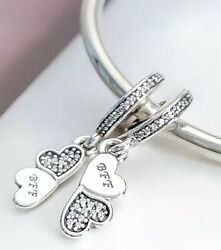 New Authentic Pandora Sterling Silver Best Friends Forever 791949 Dangle Charm