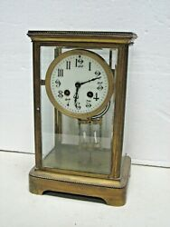 Antique French Brass Chime Clock Crystal Regulator 8 Day With Key Working France