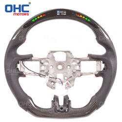 100 Real Carbon Fiber Led Steering Wheel For Ford Mustang Gt Performance
