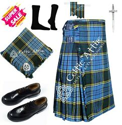 Custom Scottish 8 Yard Tartan Kilt Menand039s Kilt With Ghillie Shoes And Accessories