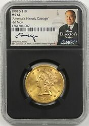 1901-s 10 Ngc Ms 64 Liberty Head Gold Eagle Americaand039s Historic Coinage Moy Sign