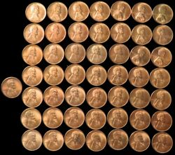1949 S Lincoln Wheat Cents 50 Coin Roll Choice Uncirculated Red