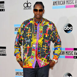 Gianni Versace Silk Shirt Le Croci Sz It 50 From Fw 93/94 Style Worn By 2 Chainz