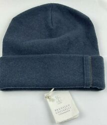 Nwt 945 Brunello Cucinelli Mens Cashmere Beanie Hat Gray Turn Up Size M Italy