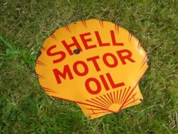 Xl Vintage Shell Moto Oil Porcelain Sign Gas Station Pump Lubricants Advertising