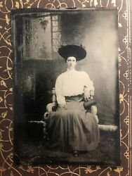 Antique Original Tintype Photo Lovely Young Woman With Hat Outdoor