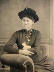 Antique Original Tintype Photo Lovely Young Woman Hand Color Cheek Hat