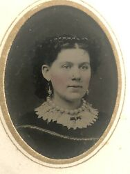 Antique Original Tintype Photo Lovely Young Woman With Huge Pearls Jewelry