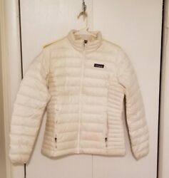 Womens Down Sweater Jacket Size S White Full Zip Flaws As Is