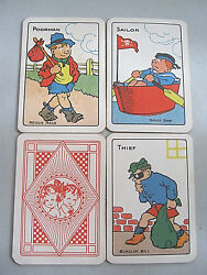 Antique Card Game Wide Snap German Lithography Printing Superb Images 1914