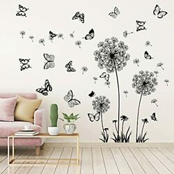Lincia Giant Dandelion Wall Decal Stickers Butterflies Wall Decals Flying Flo...