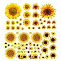 77PCS Sunflower Wall Stickers Removable Yellow Flower Wall Decor Decorations ...