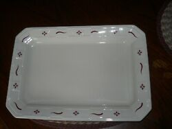 Longaberger Usa Pottery Lg Serving Tray Platter Traditional Red