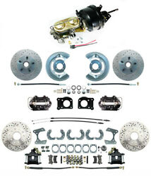 Front And Rear Mustang 1964-66 Power Disc Brakes D/s Rotors And Black Pc Calipers