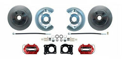 1964-66 Ford Mustang Front Power Brake Conv Kit Red Calipers. 11.25 Rotors