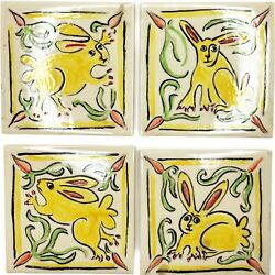 H And R Johnson England Tile Primitive Bunny Rabbit Hand Painted Set Of 4 Signed