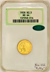 1928 2.50 Gold Quarter Eagle Ngc Ms-64 With Cac Nice Old Fattie