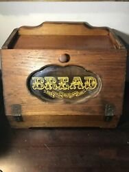 Vintage Hand Made Wood Breadbox With Glass Center Flip Down 1984