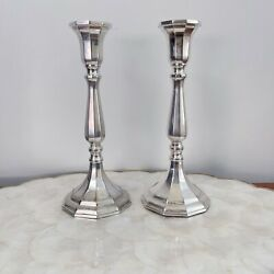 """Vintage Sheffield Silver Plate Fluted Candle Stick Holders Pair Made Italy 9"""""""