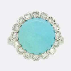 Vintage Turquoise And Diamond Cluster Ring 18ct White Gold