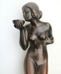 Good Art Deco Bronze Nude Maiden With Drinking Bowl By Eugene Wagner C.1920