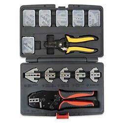 Interchangeable Ratcheting Terminal Crimper Set - 12 Die Sets With Wire Strip...