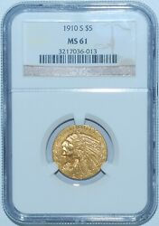 1910 S Ngc Ms61 Indian Head Gold 5 Half Eagle