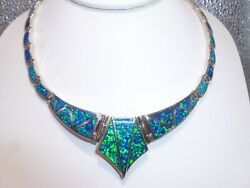 Tom Kidd Link Necklace Fire Opal Inlaid Sterling Silver Native American Zuni
