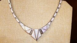 Tom Kidd Link Necklace Opal Inlaid Sterling Silver Native American Zuni