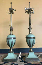 Pair 2 Of Vintage Antique Stiffel Jade Green Enamel And Brass Table Lamps