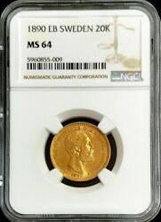 1890 Eb Gold Sweden 20 Kronor 8.96 Grams Oscar Ii Coin Ngc Mint State 64