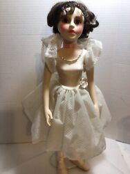 """Vtg. Signed Abigail Brahms Beautiful Ballerina Vinyl Doll With Stand/ 19"""""""
