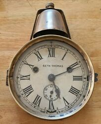 C.1890 Very Rare Seth Thomas Marine Lever Bell Over Yacht Clock Working Order