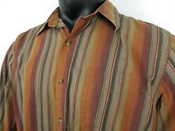 The Territory Ahead Long Sleeve Striped Shirt Menand039s Size Large 100 Cotton Brown