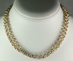 Heavy Antique Victorian 30'' Solid 9k Yellow Gold Belcher Chain Necklace 47.5g