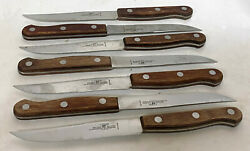 Lot Of 7 X Zwilling J. A. Henckels Rostfrei Steak Knives Steel And Wood Holland